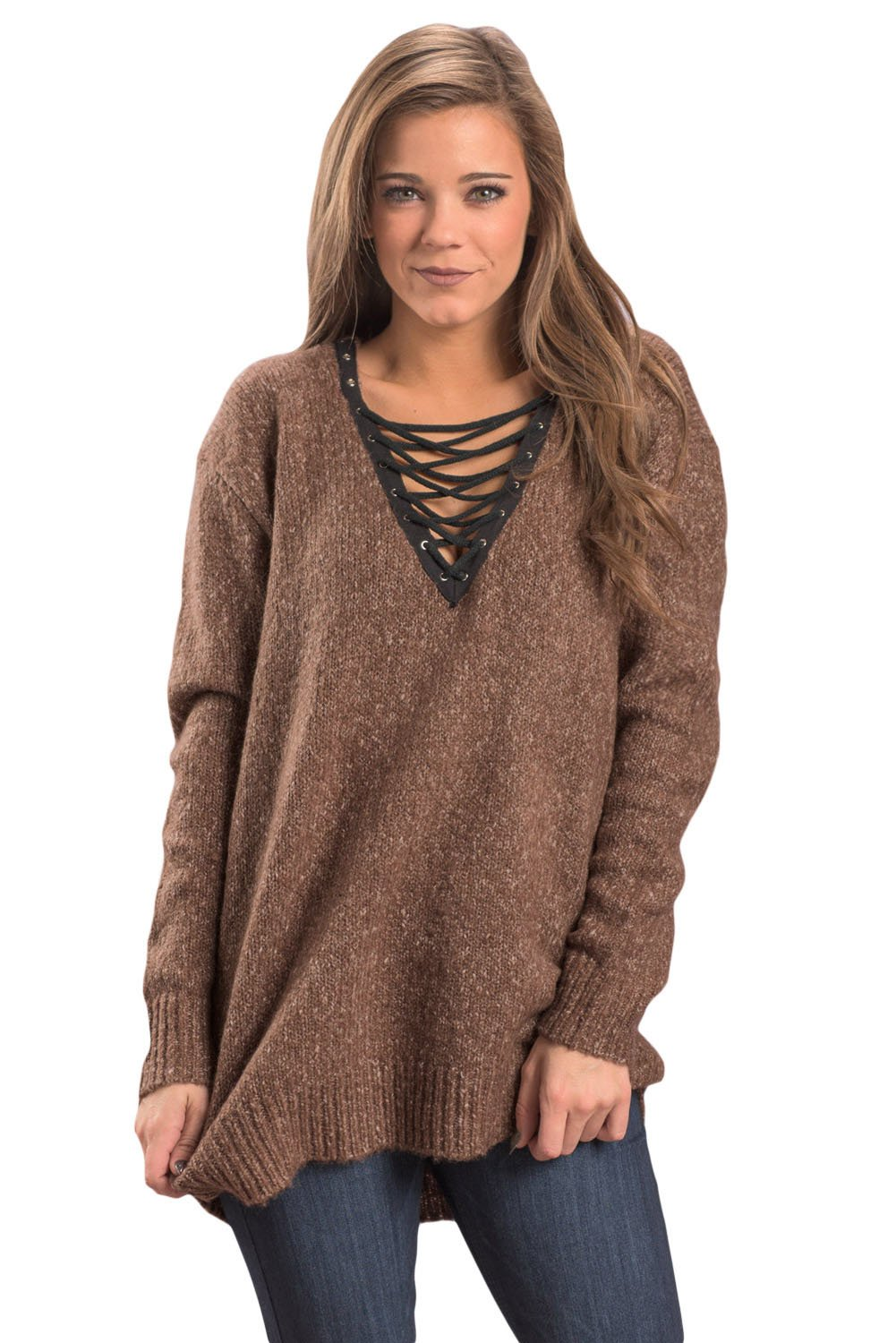 Tan Chic Long Sleeve Sweater with Lace up Neckline