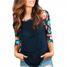 Floral Print Raglan Sleeve Black Top
