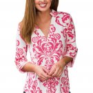 Pink Damask Print Slight Collar V Neck Blouse