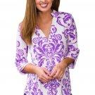 Purple Damask Print Slight Collar V Neck Blouse