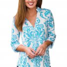 Blue Damask Print Slight Collar V Neck Blouse