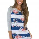 Blue White Bold Stripe Rose Floral Shirt