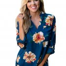Slate Blue Floral Print High Low Chiffon Blouse