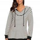 White Black Stripes Women Casual Hoodie