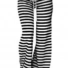 Black White Striped Wide Leg Pants