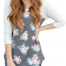 Grey Floral Print Raglan Sleeve Top