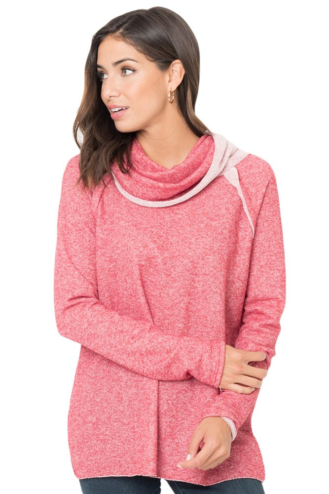 Pink Raw Edge Cowl Neck Pullover Sweatshirt