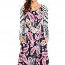 Black Paisley Print Stripe Raglan Sleeve Dress