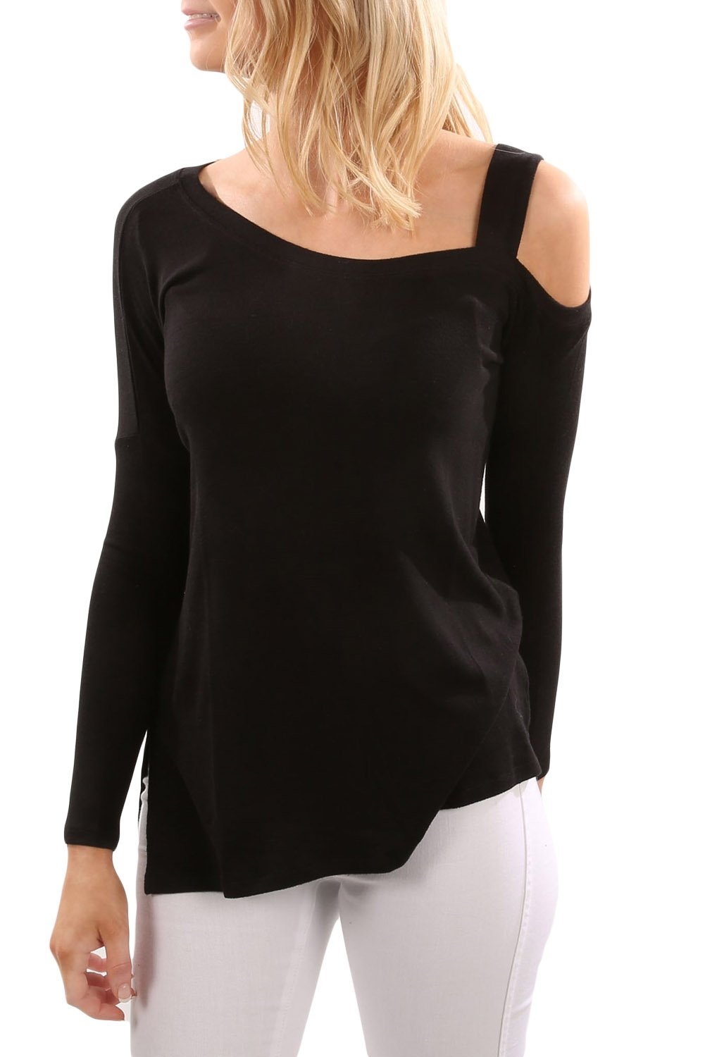 Black One Shoulder Long Sleeve Top with Slit