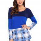 Dual Blue Block Plaid Splice Long Sleeve Top