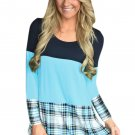 Black Mint Block Plaid Splice Long Sleeve Top