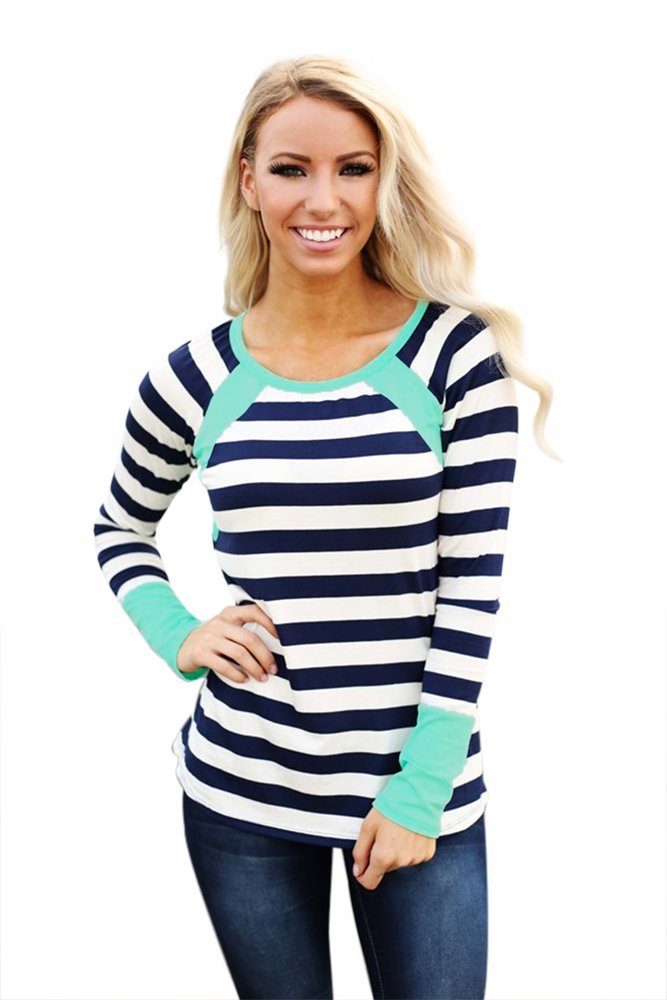 Mint Splice Accent Navy White Striped Long Sleeve Shirt