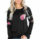 Floral Patch Accent Black Sweatshirt