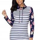 Dark Blue Striped and Floral Sweatshirt