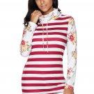 Burgundy Striped and Floral Sweatshirt