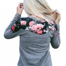 Floral Shoulder Patch Heathered Grey Top