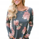 Floral Print Elbow Patch Grey Long Sleeve Top with Pocket