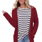 Red Long Open Front Pocket Cardigan