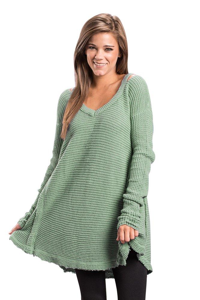 Green V Neck Waffle Knit Sweater