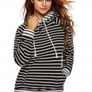 White Black Stripe Double Hooded Sweatshirt