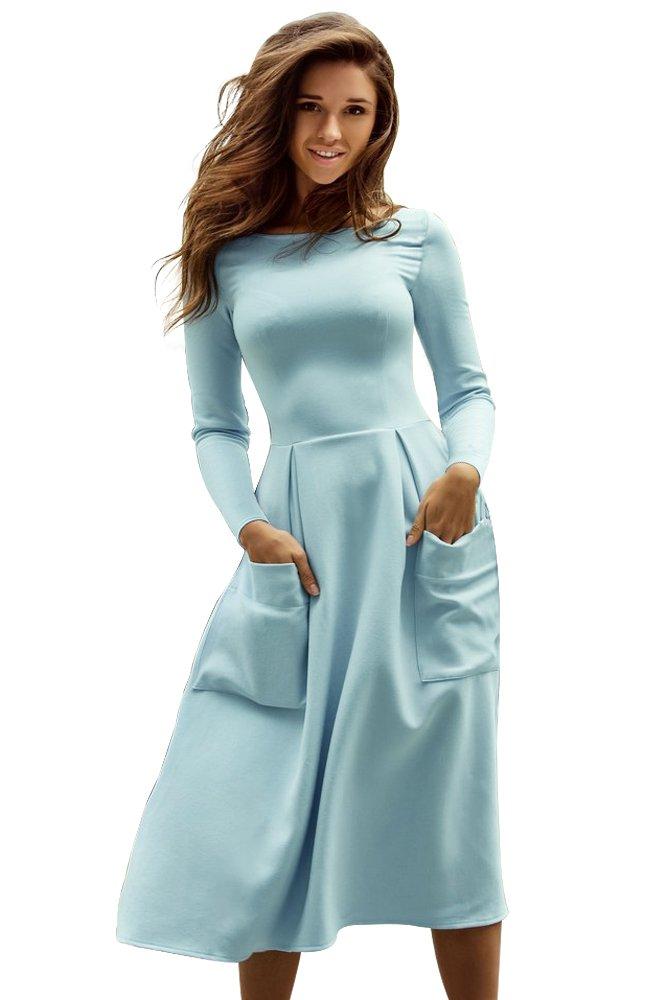Light Blue Bateau Collar Casual Big Pocket Skater Dress
