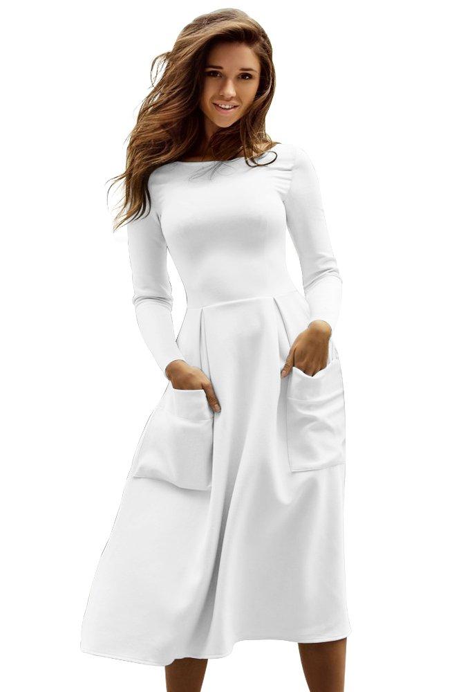 White Bateau Collar Casual Big Pocket Skater Dress