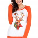 Christmas Reindeer Orange Long Sleeve Shirt