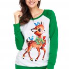 Reindeer and Birds Green Long Sleeve Christmas Shirt