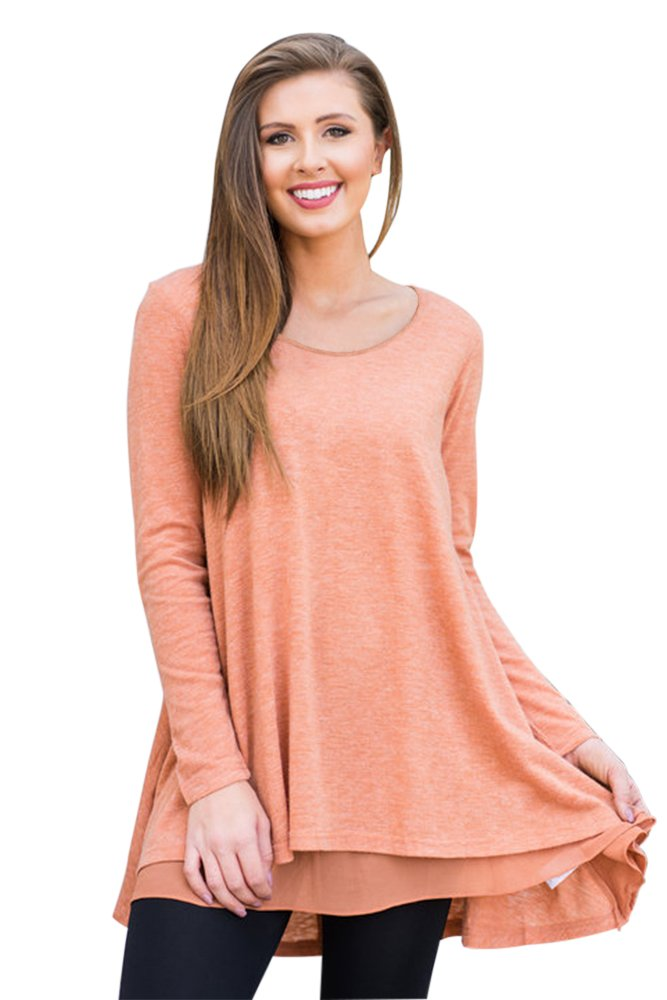 Orange Swingy Layered Long Sleeve Tunic