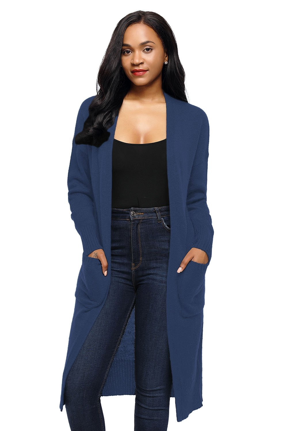Navy Casual Knit Long Sleeve Open Front Cardigan
