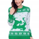 Green White Reindeer In The Snow Christmas Jumper