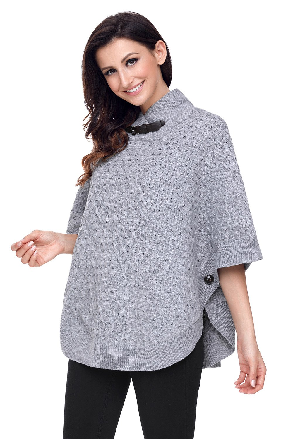 Gray High Neck Waffle Knit Poncho