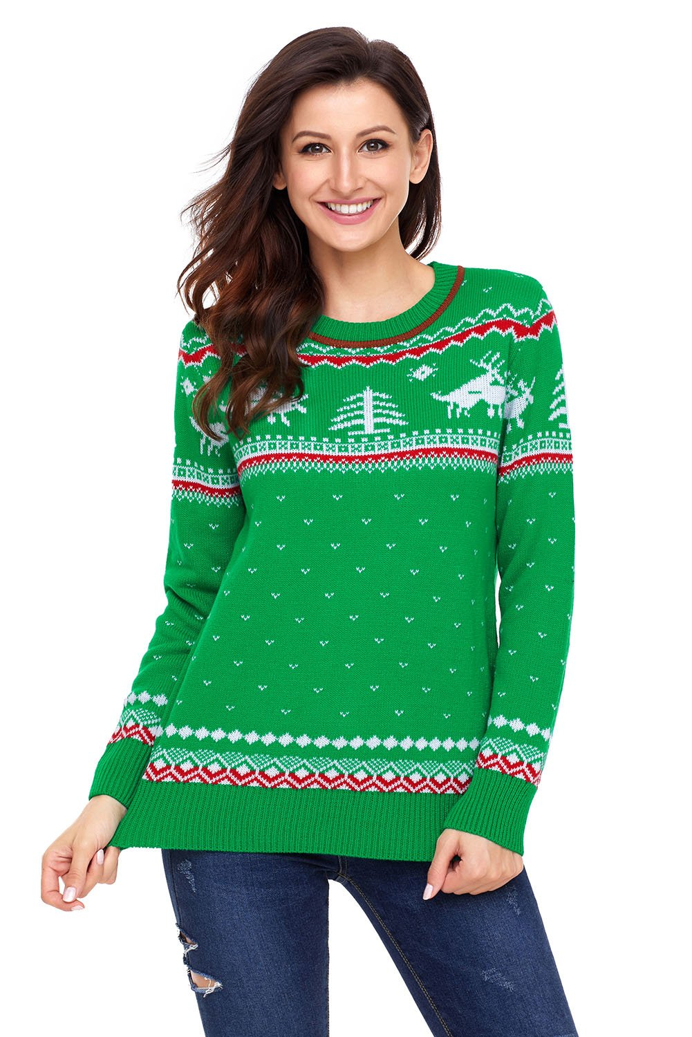Green Christmas Reindeer Knit Sweater Winter Jumper