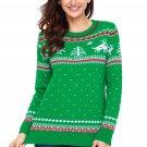 Green Christmas Reindeer Knit Sweater Winter Jumper