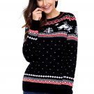 Black Christmas Reindeer Knit Sweater Winter Jumper