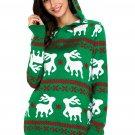 Cute Reindeer Knit Green Hooded Sweater