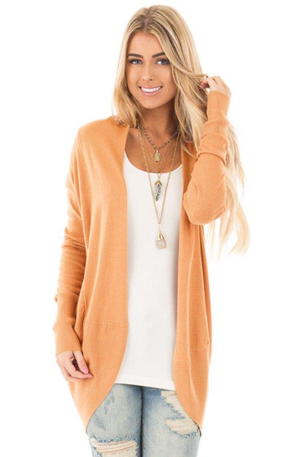 Light Orange Super Soft Long Sleeve Open Cardigan