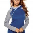 Blue Grey Patchwork Double Hooded Sweatshirt