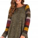 New Multicolor Long Sleeve Heathered Green Sweatshirt