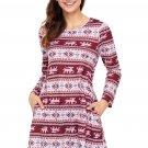 Geometric Snowflake Burgundy Long Sleeve Christmas Dress