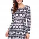 Geometric Snowflake Black Long Sleeve Christmas Dress