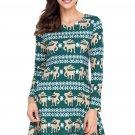 Cute Christmas Reindeer Print Green Swingy Mini Dress