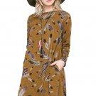 Mustard Feather Graphic Pocket Tunic Dress