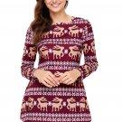 Burgundy Geometric Snowflake Christmas Reindeer Blouse