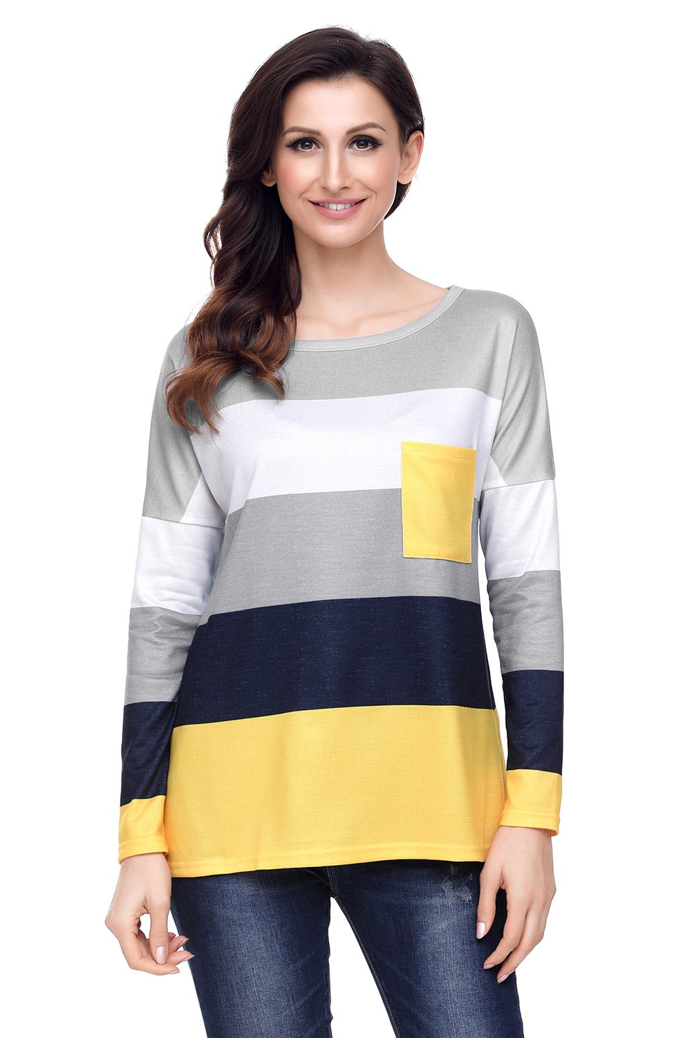 Black Yellow Colorblock Pocket Pullover Tunic Top