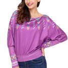 Purple Printed Batwing Sleeve Skew Neck Blouse