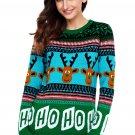 Cartoon Reindeer HO HO HO Green Christmas Sweater