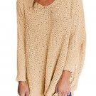 Khaki Oversized Long Sleeve Knitted V-Neck Sweater