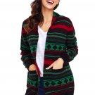 Black Red Green Geometric Knit Christmas Cardigan