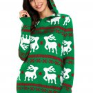 Cute Christmas Reindeer Knit Green Hooded Sweater
